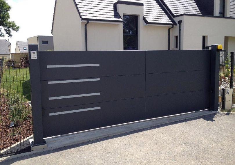Quel style de portail aluminium pour votre maison - Poteau pour portail ...